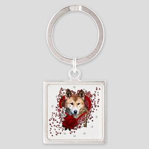 Valentine_Red_Rose_Dingo Square Keychain