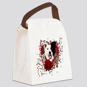 Valentine_Red_Rose_BorderCollie Canvas Lunch Bag