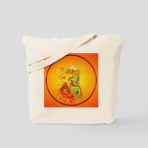 Circle ornament Flaming Dragon with Symbo Tote Bag