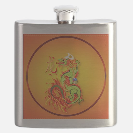 Circle ornament Flaming Dragon with Symbol Flask