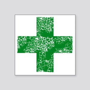 "green cross Square Sticker 3"" x 3"""