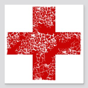 """red cross Square Car Magnet 3"""" x 3"""""""