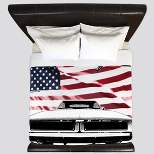 1969 Charger USA flag front King Duvet