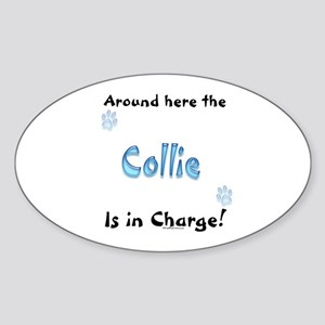 Collie Charge Oval Sticker