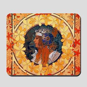 Byzantine Blonde Head by Alphonse Mucha Mousepad