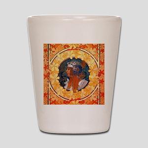 Byzantine Blonde Head by Alphonse Mucha Shot Glass