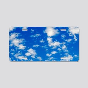 Fluffy White Clouds on Blue Aluminum License Plate