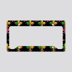 MardiGrasLoveCrPbBeBag License Plate Holder