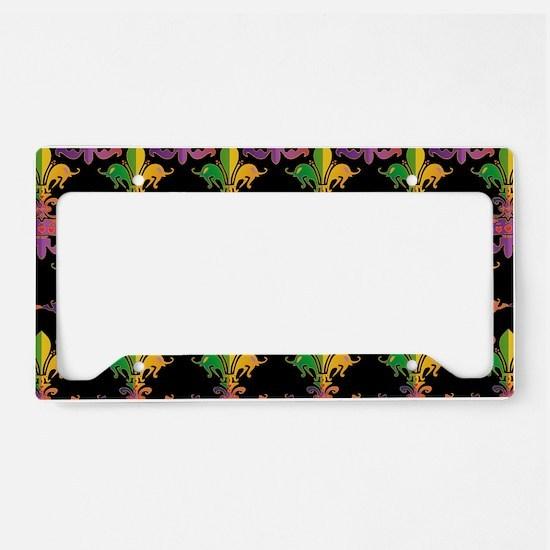 MardiGrasLoveCrPbBeBag License Plate Holder