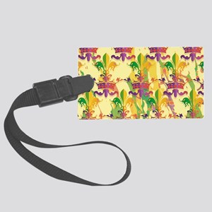 MardiGrasLoveCrLaptpPm Large Luggage Tag