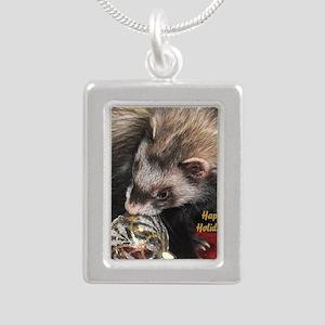 Ferret Holidays Text L Silver Portrait Necklace