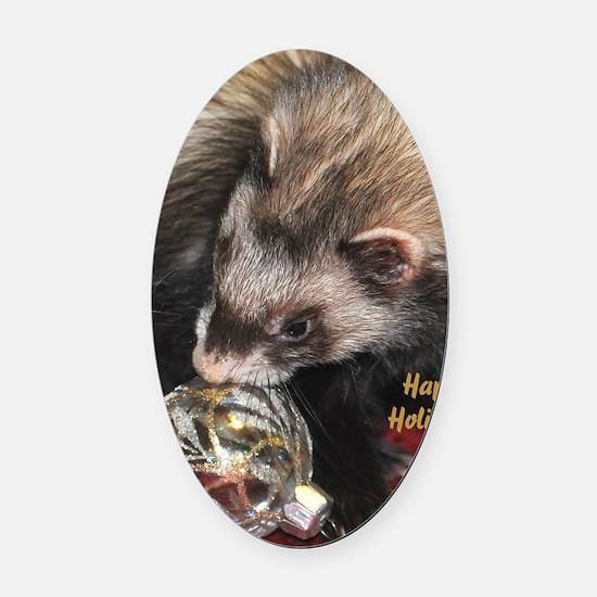 Ferret Holidays Text L Oval Car Magnet