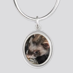Ferret Holidays Text L Silver Oval Necklace