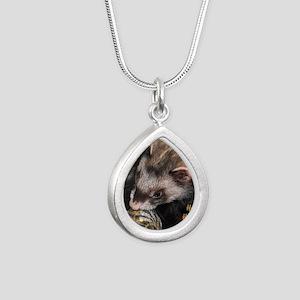 Ferret Holidays Text L Silver Teardrop Necklace