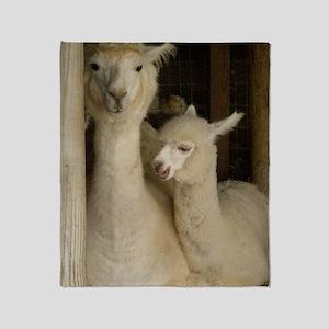 Llama Mama and Child Throw Blanket
