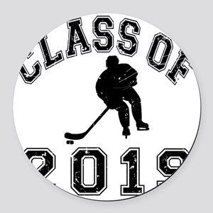 Class Of 2019 Hockey - Black 2 D Round Car Magnet