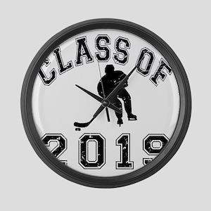 Class Of 2019 Hockey - Black 2 D Large Wall Clock