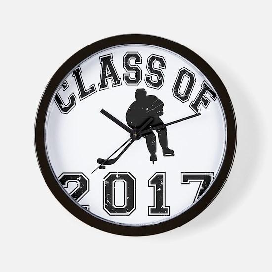 Class Of 2017 Hockey - Black 2 D Wall Clock