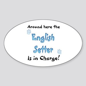 English Setter Charge Oval Sticker