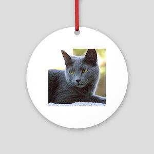 Gray Cat Round Ornament