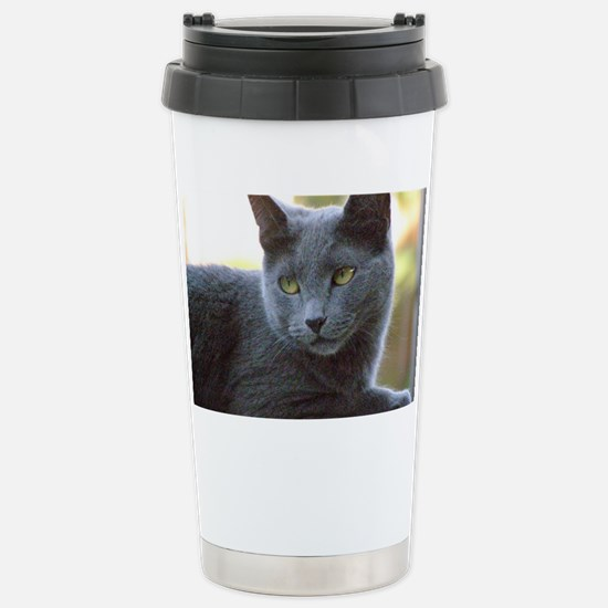 Gray Cat Stainless Steel Travel Mug