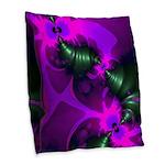 Purple Imp Abstract Fractal Burlap Throw Pillow