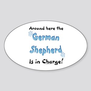 German Shepherd Charge Oval Sticker