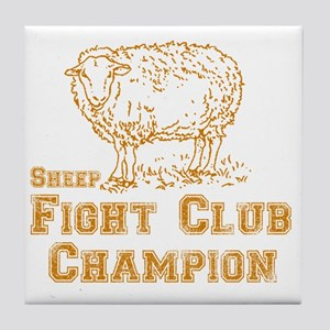 sheep fight club gold Tile Coaster