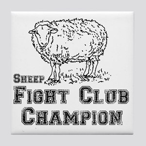 sheep fight club Tile Coaster