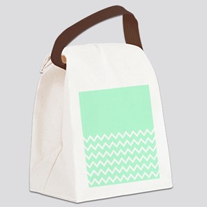 Mint Green and Zigzags. Canvas Lunch Bag