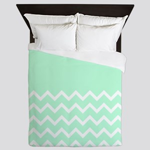 Mint Green and Zigzags. Queen Duvet