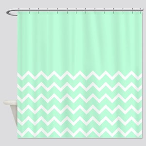 Mint Green and Zigzags. Shower Curtain