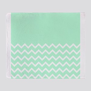 Mint Green and Zigzags. Throw Blanket