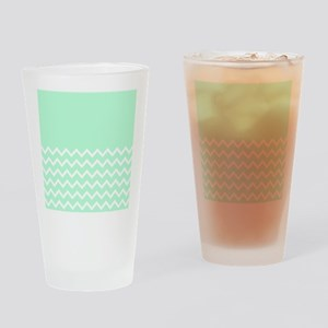 Mint Green and Zigzags. Drinking Glass