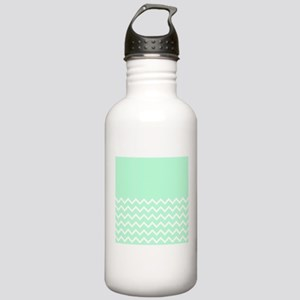 Mint Green and Zigzags. Water Bottle