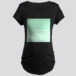 Mint Green and Zigzags. Maternity T-Shirt