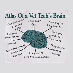 A Vet Techs Brain Throw Blanket