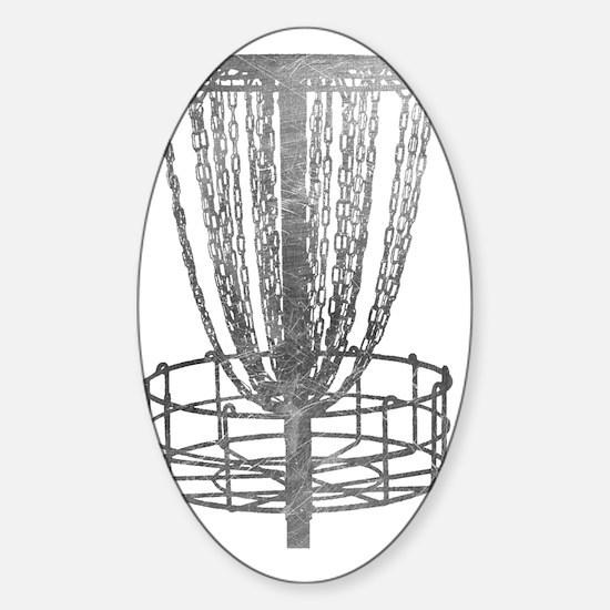 Metal Basket - Disc Golf NO TEXT Sticker (Oval)