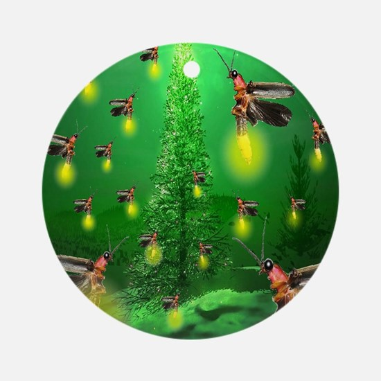 firefly_christmas_tree_1024x1024 Round Ornament