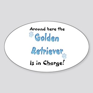 Golden Retriever Charge Oval Sticker