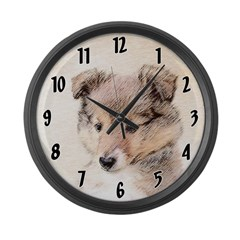 Shetland Sheepdog Puppy Large Wall Clock