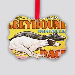 greyhound obstacle Picture Ornament