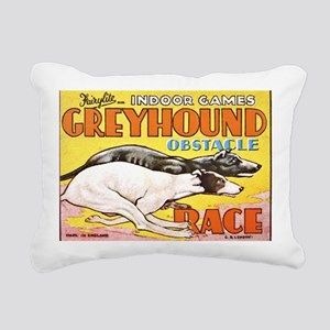 greyhound obstacle Rectangular Canvas Pillow