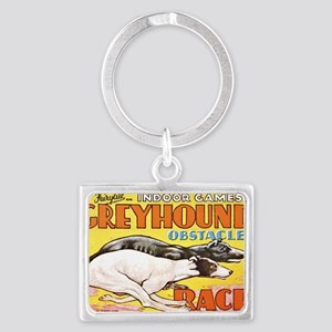 greyhound obstacle Landscape Keychain