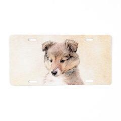 Shetland Sheepdog Puppy Aluminum License Plate