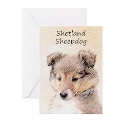 Shetland Sheepdog Puppy Greeting Cards (Pk of 10)
