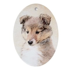 Shetland Sheepdog Puppy Oval Ornament