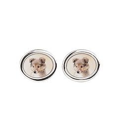 Shetland Sheepdog Puppy Oval Cufflinks