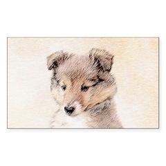 Shetland Sheepdog Puppy Sticker (Rectangle)