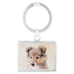 Shetland Sheepdog Puppy Landscape Keychain